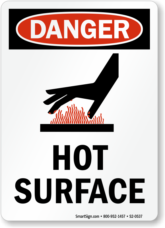 Hot Surface Osha Danger Sign Hand Burn Warning Message