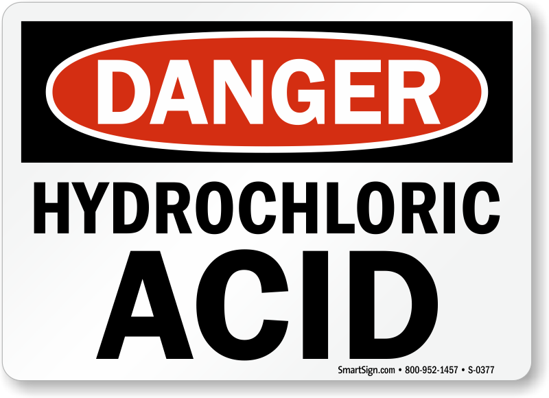 Hydrochloric Acid Signs Flammable Chemicals