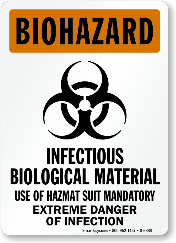 infectious biological material use hazmat suit biohazard sign sku