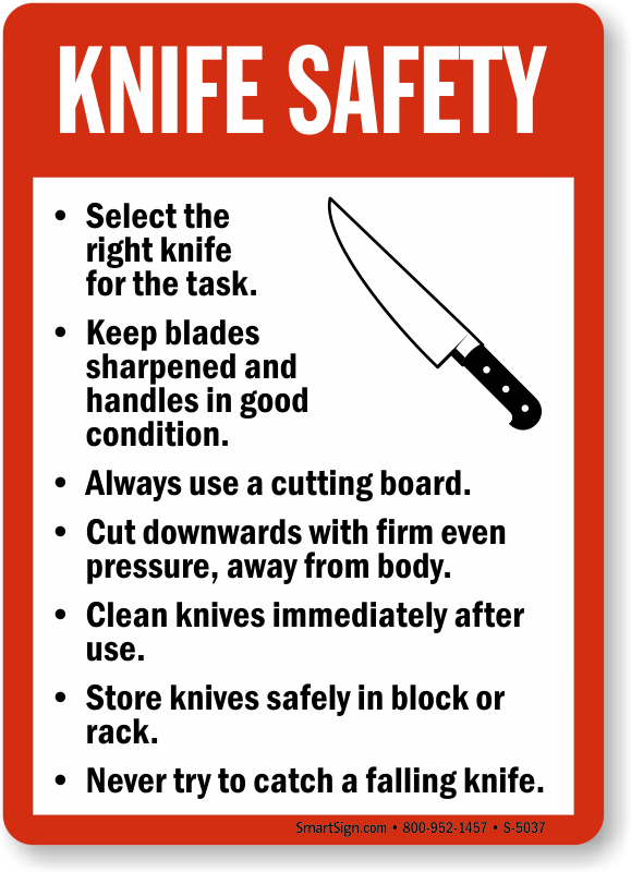 my kitchen rules knives knife safety guidelines sign food and kitchen safety 20923