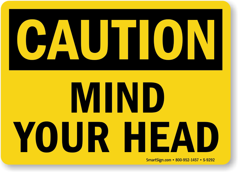 DANGER MIND YOUR HEAD METAL SIGN SAFETY WORK BUILDING SITE SIZES AVAILABLE