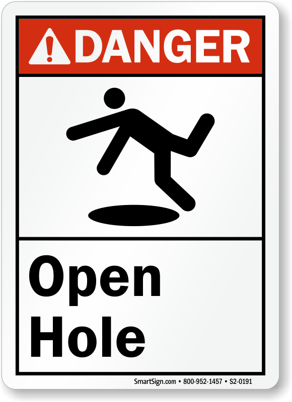 Open Hole Ansi Danger Sign With Graphic Made In U S A