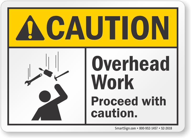 Overhead Work, Proceed With Caution Sign, SKU: S2-2618