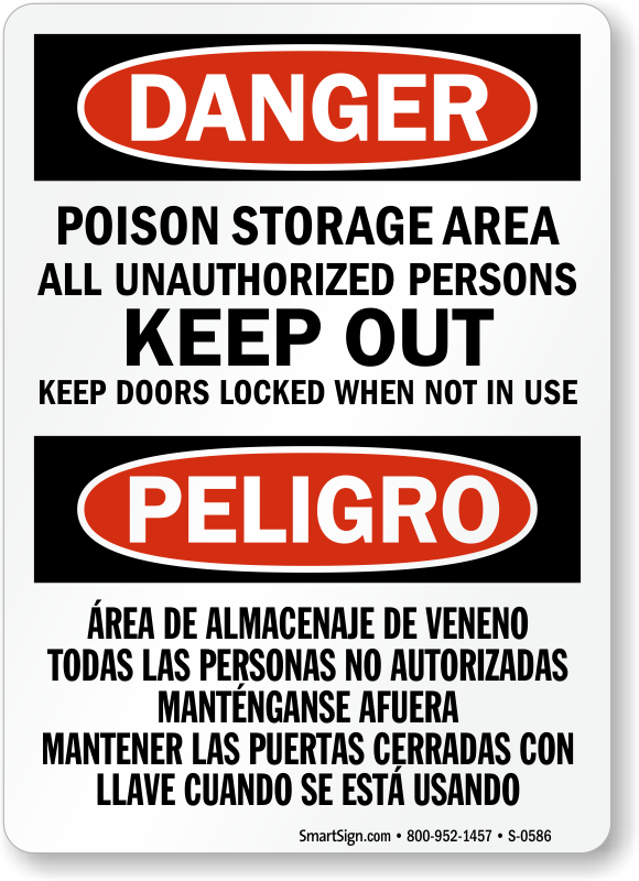 Bilingual poison storage unauthorized persons keep out sign sku s bilingual danger poison storage keep out sign publicscrutiny Image collections