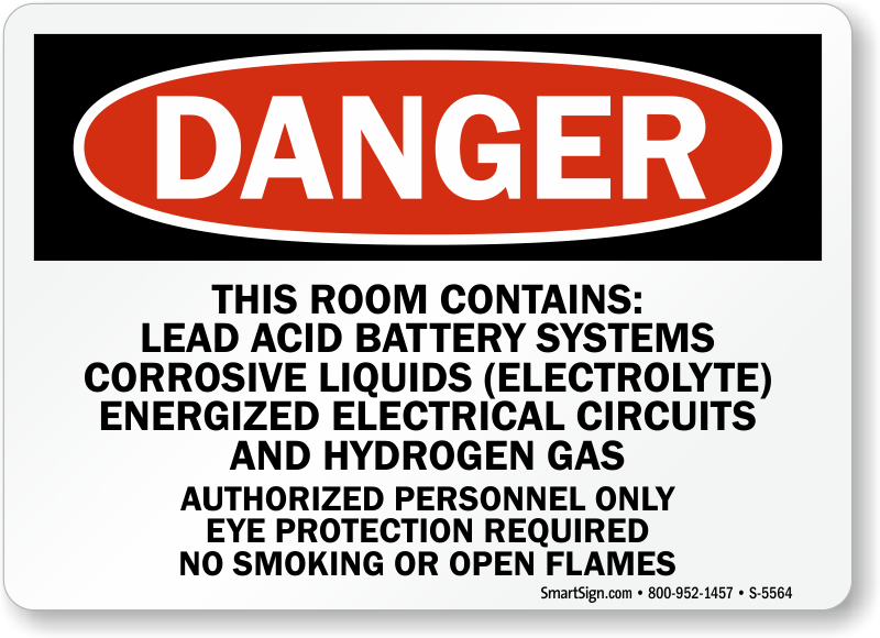 Lead Acid Battery Systems Sign Sku S 5564 Mysafetysign Com