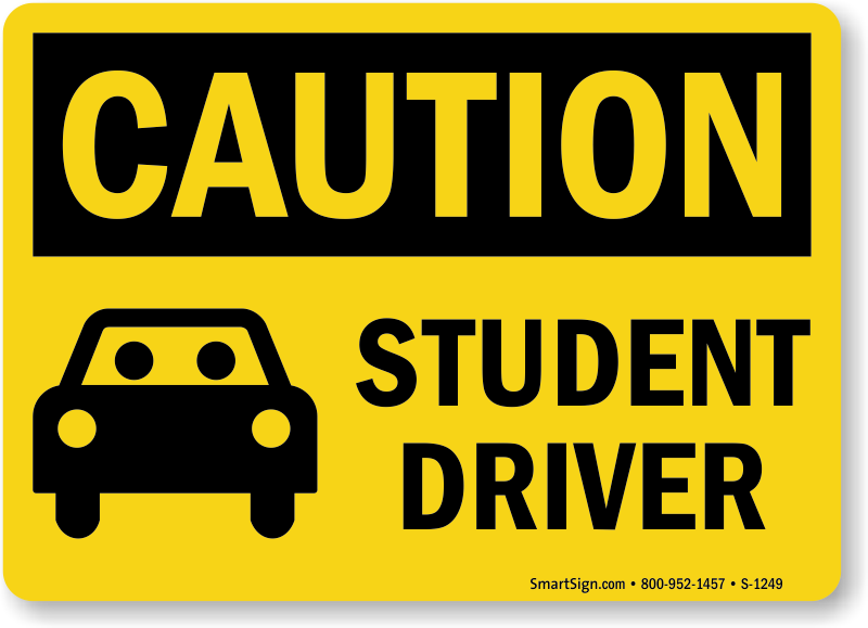 image regarding Student Driver Sign Printable known as Scholar Driver Indications Driver Education and learning Car or truck Indicators