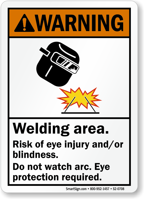 Welding Area Risk Of Eye Injury And Or Blindness Sign, SKU