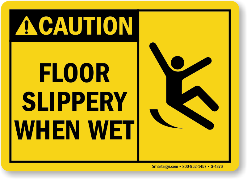 photo relating to Wet Floor Signs Printable named Warning Flooring Slippery Though Soaked Indicator, SKU: S-4376