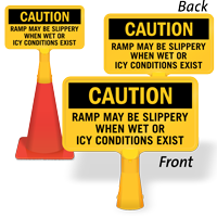 Ramp May Be Slippery ConeBoss Sign