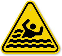 ISO Beware Of Drowning Symbol Warning Sign