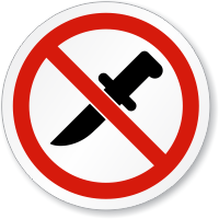 No Knife ISO Prohibition Sign