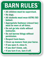 Barn Rules Campground Sign