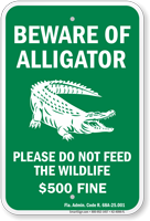 Beware of Alligator, Florida Alligator Warning Sign
