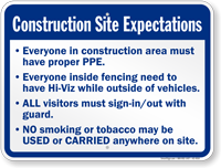 Construction Site Expectations Sign