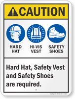 Hard Hat Safety Vest And Shoes Required Sign