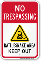 Rattlesnake Area Keep Out Sign