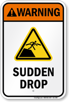 Warning Sudden Drop Water Safety Sign