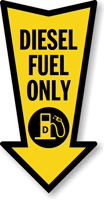 Diesel Fuel Only Arrow Safety Label