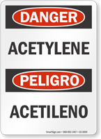 Acetylene Bilingual OSHA Danger Sign