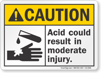 Acid Could Result In Moderate Injury ANSI Caution Sign