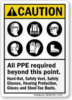 All PPE Required ANSI Caution Sign