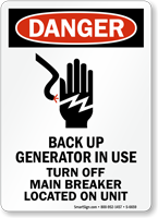 Back Up Generator In Use ANSI Danger Sign