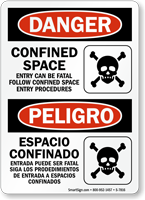 Bilingual Confined Space OSHA Danger Sign