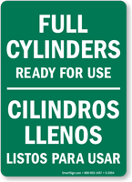 Full Cylinders Ready For Use Bilingual Sign