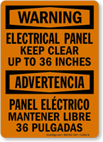 Bilingual Electrical Panel Keep Clear 36 Inches Sign