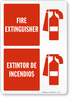 Bilingual Fire Extinguisher Extintor De Incendios Sign