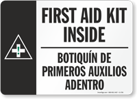 First Aid Kit Inside Sign Bilingual