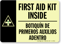 Bilingual First Aid Kit Inside Sign