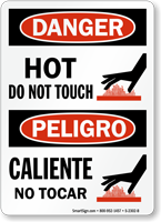 Hot Do Not Touch Caliente No Tocar Sign