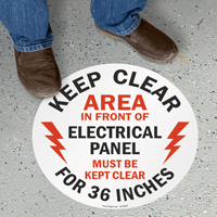 Keep Clear 36 Inches, Electrical Panel Floor Sign