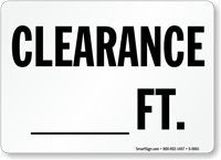 Clearance Feet Sign