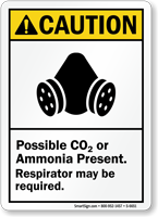 Possible Co2 Present Respirator May Required Caution Sign