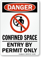 Confined Space Entry By Permit Only Danger Sign