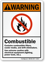 Combustible Use Extreme Caution With Electrical Equipment Sign