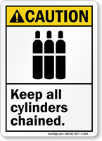 Caution (ANSI) Keep All Cylinders Chained Sign