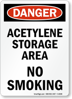 Danger Acetylene Storage Area Sign