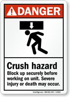 ANSI Crush Hazard Severe Injury May Occur Sign