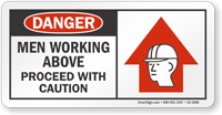 Men Working Above Proceed With Caution Danger Sign