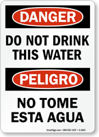 Bilingual Danger Do Not Drink Water Sign