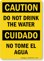Caution Do Not Drink Bilingual Sign
