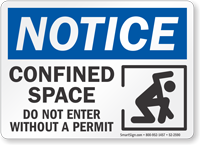 Confined Space Do Not Enter Without Permit Notice Sign