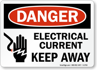 Electrical Current Keep Away Danger Sign