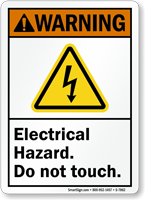 Electrical Hazard Do Not Touch ANSI Warning Sign