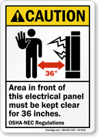 Electrical Panel Area Keep Clear 36 Inches Sign