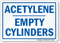 Acetylene Empty Cylinders Sign