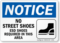Esd Shoes Required Notice Sign